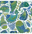 hand drawn seamless pattern with paisley fish vector image vector image