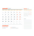 january 2019 week starts on monday calendar vector image