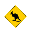 Kangaroo warning sign vector image vector image