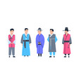korea traditional clothes set of men wearing vector image vector image