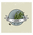 leeks vintage set of labels emblems or logo for vector image