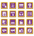 multimedia internet icons set purple square vector image vector image