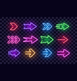 neon right arrows colorful icons set vector image