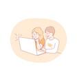 online education technology communication vector image