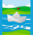 paper boat floating in the river vector image