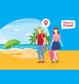 people vacation to tropical island vector image