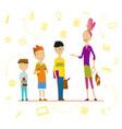 schoolchildren and senior pupil school boys vector image vector image