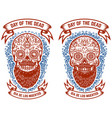set bearded mexican sugar skulls with pattern vector image