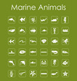 set of marine animals simple icons vector image vector image