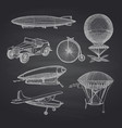 set of steampunk hand drawn dirigibles vector image vector image