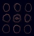 set rose gold geometric luxury frames on dark vector image vector image