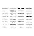 set waving vibration and pulsing lines vector image vector image