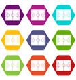 soccer field icon set color hexahedron vector image vector image
