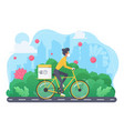sportive slim woman on bicycle in mask concept vector image