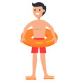 standing boy in lifebuoy isolated icon vector image