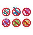 stop viruses cartoon emblems set vector image vector image