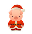 sweet piglet in santa costume pig cartoon vector image