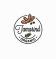 tamarind fruit logo round linear on white vector image vector image