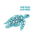 turtle plastic trash planet pollution concept vector image vector image