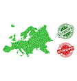 welcome collage of map of europe and textured vector image