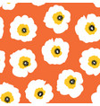 white flowers on orange seamless retro vector image vector image