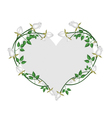 White Roses Flowers in A Heart Shape vector image