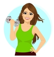 young woman doing a fitness workout with dumbbell vector image vector image
