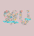 love you floral letter and heart with ribbons vector image