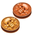 Old pirate coin with skull and crossbones vector image