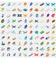 100 traffic icons set isometric 3d style