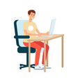 a young man brown haired artist and designer sits vector image