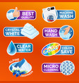 all washing clothes stickers set - micro cleaning vector image vector image