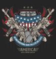 america machine gun and usa army flag editable lay vector image vector image