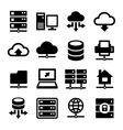 Big Data Center and Server Icons Set vector image vector image