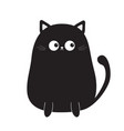 black cute sitting cat kitten looking on tail vector image vector image
