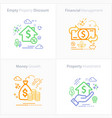 business and finance flat colorful icon set vector image vector image