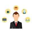 businessman elegant with set icons avatar vector image vector image