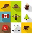 canadian symbols icon set flat style vector image