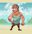 cartoon muscular man happily smiling while vector image vector image