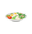 ceramic plate with boiled eggs fresh vegetables vector image