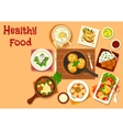 Chinese and russian cuisine dinner dishes icon vector image vector image