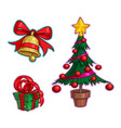 christmas cartoon icon set - bell gift tree vector image vector image