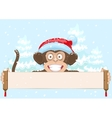 Christmas monkey in santa hat symbol 2016 year vector image