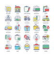 colorful flat icons of logistics delivering vector image vector image