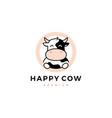 cow round circle logo icon vector image vector image