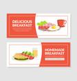 delicious homemade breakfast social media banner vector image
