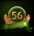 fifty six years anniversary celebration design vector image vector image
