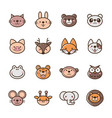 filled outline animal icons vector image