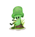 funny green mushroom character with human face vector image