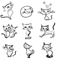 hand drawn cats icons collection vector image